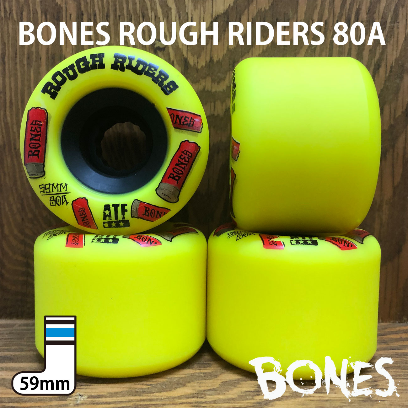 BONES ATF ROUGH RIDERS YELLOW 59mm / 80A