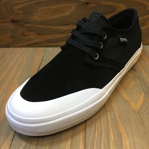 (ラスト25.0cm)STATE FOOTWEAR BISHOP BLACK/WHITE RUBBER TOE