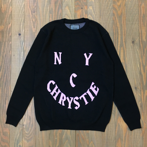 CHRYSTIE SMILE LOGO KNIT SWEATER BLACK