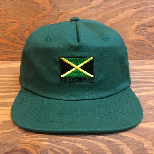 PASS~PORTJAMAICA 5PANEL CAP GREEN