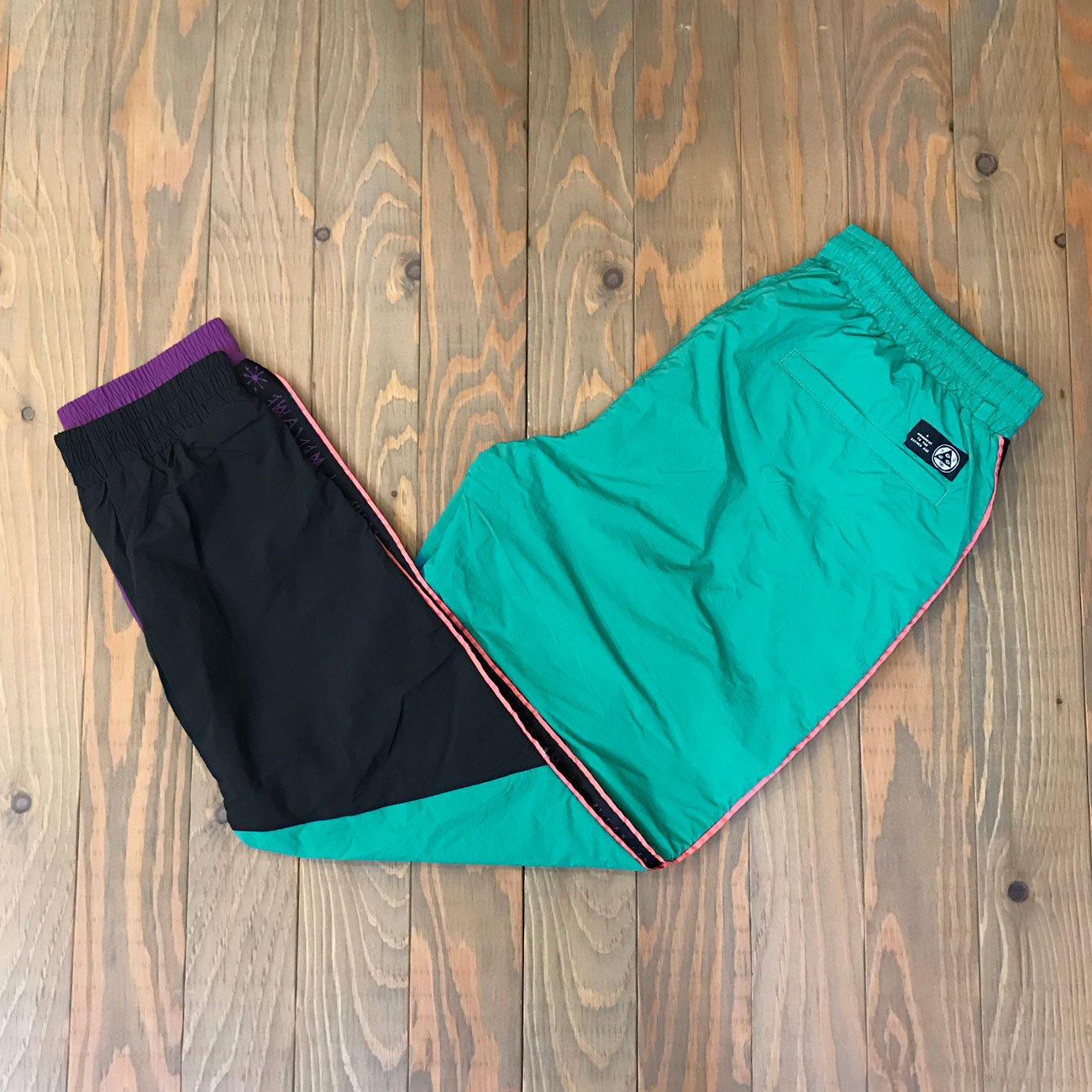 WELCOME ATHLETE NYLON WIND PANT TEAL/BLACK/PURPLE