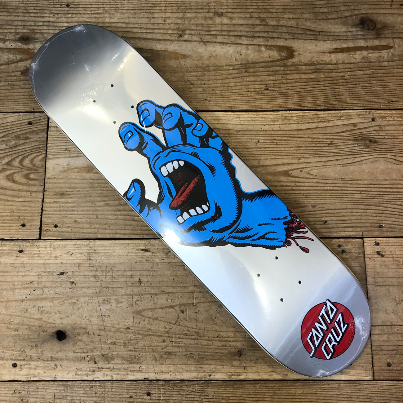 SANTA CRUZ SCREAMING HAND DECK BLUE SILVER 7.75inch