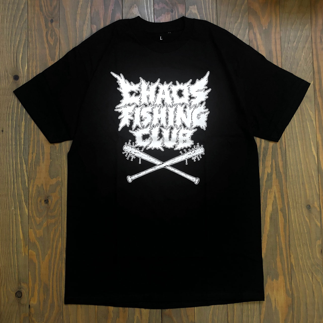 CHAOS FISHING CLUB HARD CORE LOGO TEE BLACK