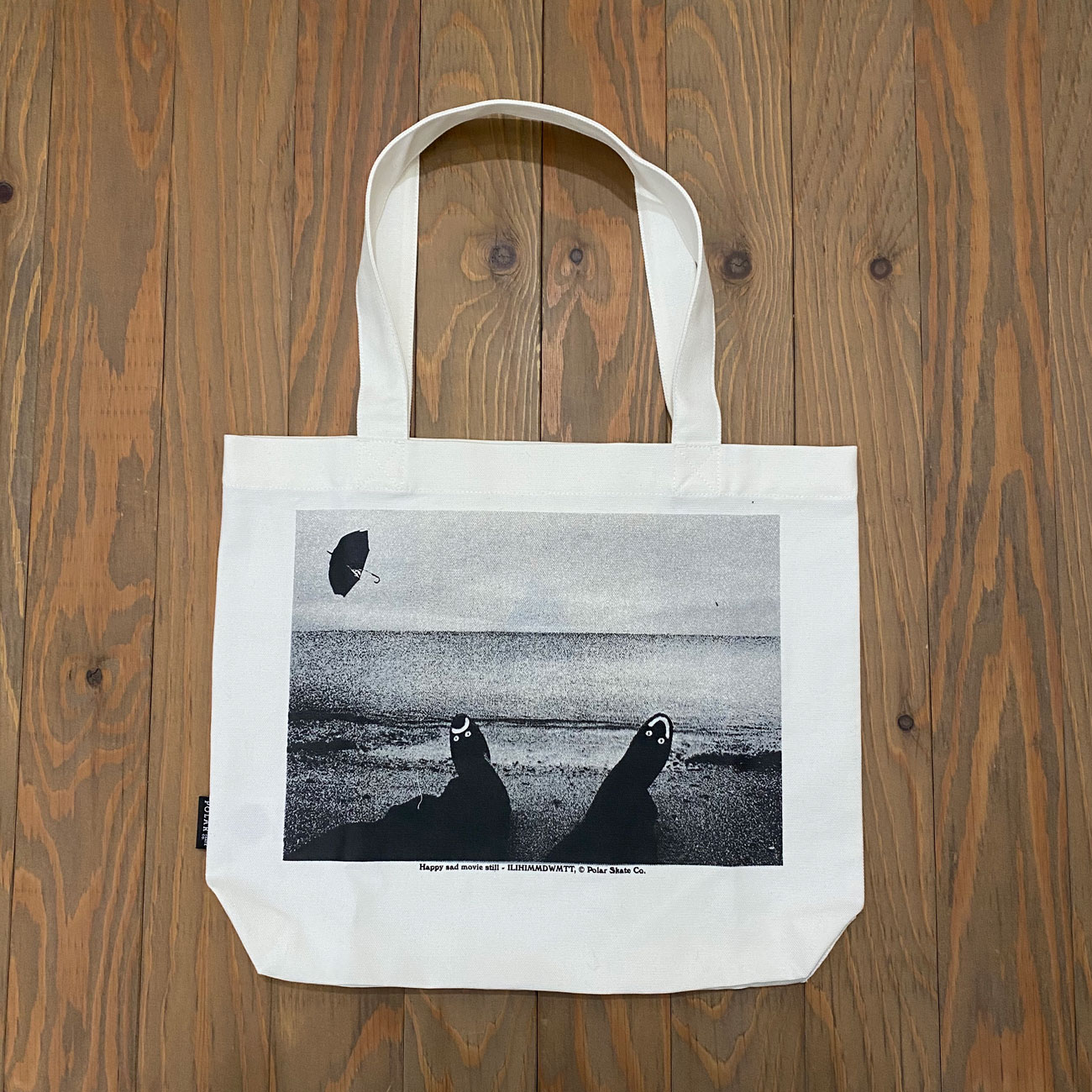 POLAR HAPPY SAD TOTE BAG ECRU