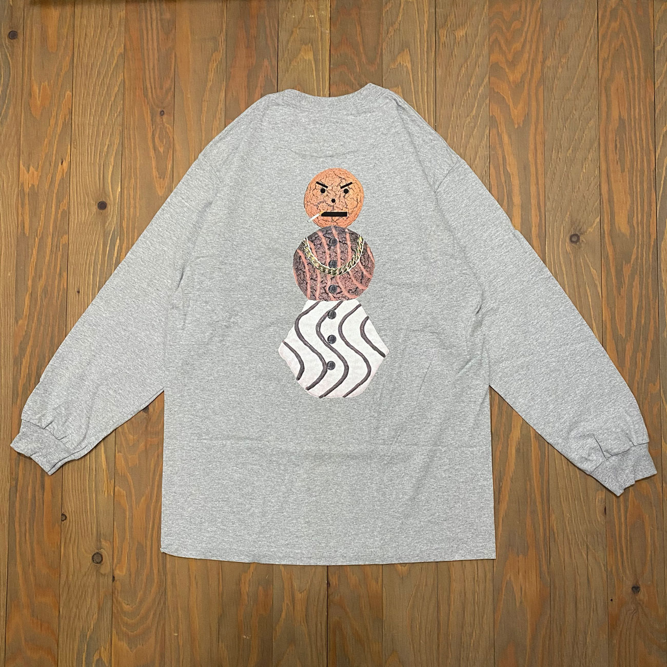 QUARTER SNACKS CLASSC SNACKMAN L/S TEE HEATHER GREY