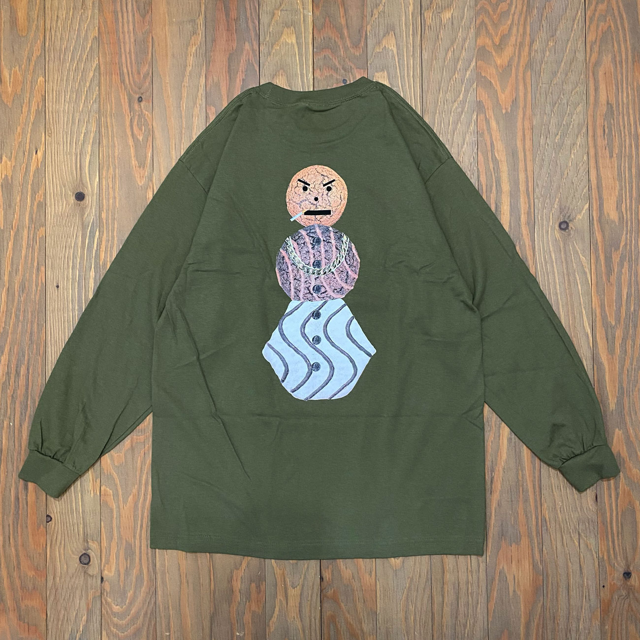 QUARTER SNACKS CLASSC SNACKMAN L/S TEE MILITARY GREEN